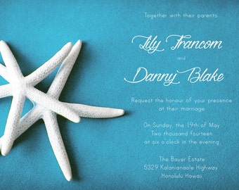 25 cards per set- wedding card invitations  - White Starfish