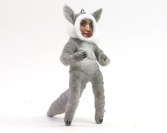 Spun Cotton Vintage Style Wolf Child Figure/Ornament