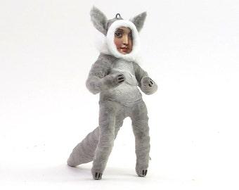 Spun Cotton Vintage Style Wolf Child Figure/Ornament