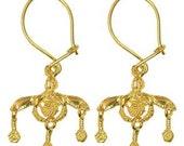 Minoan Malia Bees - Sterling Silver 24K/ Gold Plated Pierced Earrings