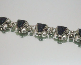 Vintage Mexico Bracelet Onyx Carved Masks Tribal