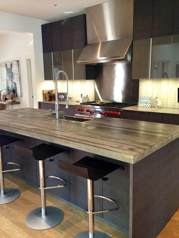 cast concrete kitchen island counter top made by