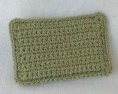 Cotton Crochet Sponge, celery green, triple layer thick, reusable alternative to sponge or dishcloth
