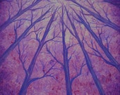 Winter, forest, trees, Tree art, original fine art, Original painting, acrylic painting by Jordanka Yaretz