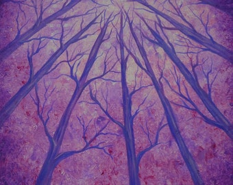 Winter forest, trees, Tree art, original fine art, Original painting, acrylic painting by Jordanka Yaretz