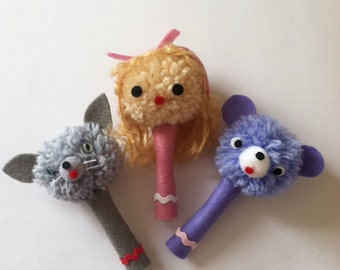Cute Handmade Pencil Toppers PomPoms Dolly Cat Teddy Bear Unique Gift great teachers gift