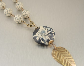 Navy and Cream Polymer Clay and Brass Necklace