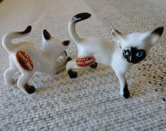 Vintage 60s Pair of Siamese Cats Kittens Figurings Bone China Japan