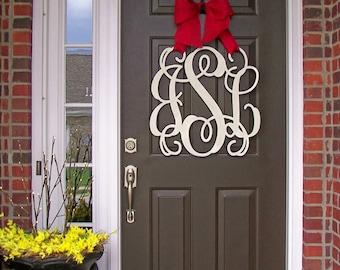 Custom MONOGRAM door hanger / BURLAP bow/ All Seasons /All SCRIPT font/ 24 inch wreath/ chevron/Initial/wooden/wedding gift/front door decor