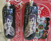 Elvis Presley Day of the Dead Skull Glitter Resin Earrings