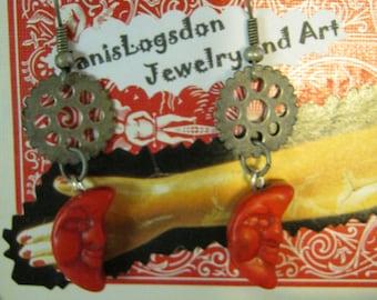 Steampunk Red Moon and Watch Gear Steampunk Earrings