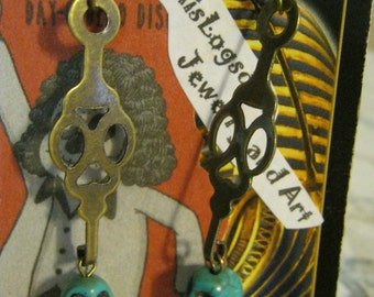 Steampunk Turquoise Skulls with Gold Clock Hands Earrings