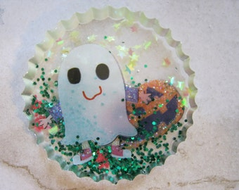 Halloween Ghost and Pumpkin Resin Cabochon