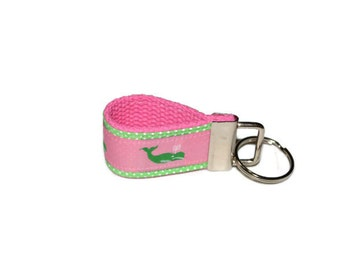 Preppy Pink and Green Whale Ribbon Fabric Key Ring