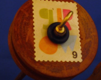 """Vintage Wooden Pulley Drop Spindle  """" Grow """""""