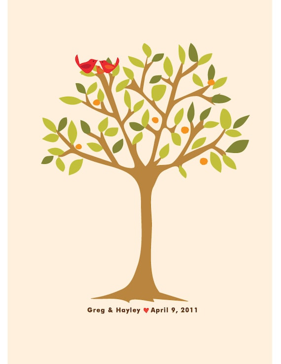 wedding anniversary tree custom matted print