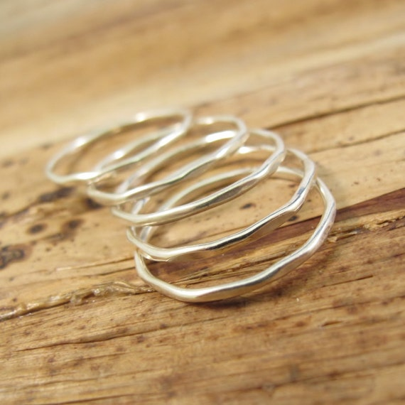 Silver Stack Ring, Sterling Silver Tow-Tow Stacking Ring, Individual Stacking or Thumb Ring