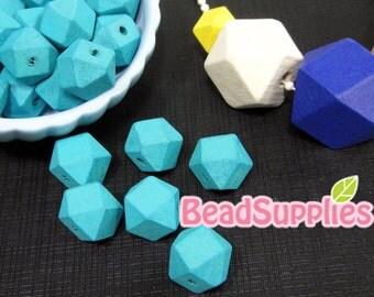 BE-WO-02004 - Geometric wood beads (S), Baby blue 10 pcs