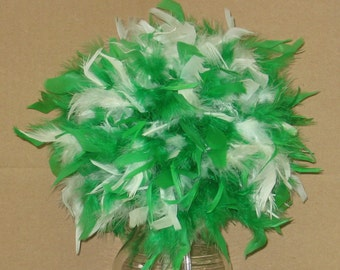 "Feather Centerpiece,Kissing Ball,Pomander 6""-14"" bi-colors, crystals, pearls, green, ,black,white, hot pink etc premixed"