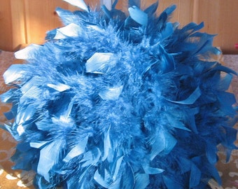 "Blue Chandelle Feather Kissing Ball, 6"",8"",10"",12"",14"" Feather Ball,ribbon, centerpiece, crystals, pearls,aqua,Sapphire, Navy"