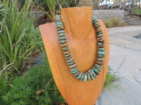 Turquoise Necklace  with copper Large 10mm to 22mm Graduated Handcut Stones