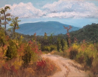 English Mountain Trail Original Oil Painting 6 x 8 inches Smoky Mountains Tennesssee FREE SHIPPING