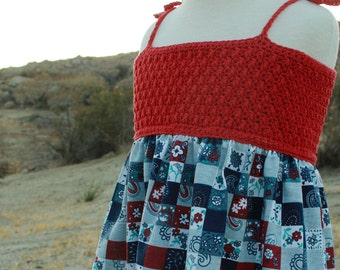Picnic in July pdf crochet pattern dress with crochet bodice and fabric skirt