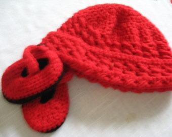 Red Baby Hat And Mary Jane Slippers Crochet
