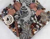 Reserved for Barbara - HALF OFF SALE! - Hand Mirror - Kokopelli's Music - Repurposed Jewelry - M000971