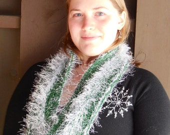 Cowl Infinity Loop Wool and Flash Scarf - Warm Hand Knit Green and White Moebius