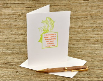 I don't believe in aging - Virginia Woolf quote - letterpress card