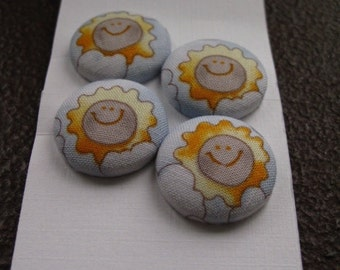 Wearable Sew On Fabric Covered Buttons - Size 36 or  7/8 inches  Smiling Suns