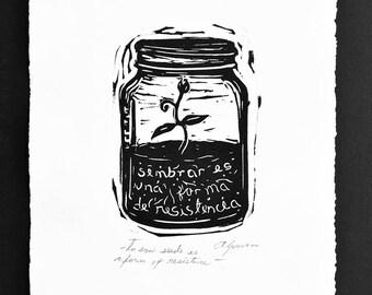 Mason Jar sprout linocut print - Sembrar es una forma de resistencia