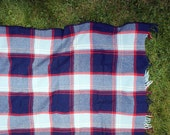 Wool Picnic Blanket // Red & Blue Plaid Throw with Fringe // Found Vintage