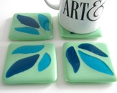 Green Leaves Fused Glass Coasters 0053