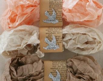 New Color Set - Seam Binding Ribbon - 18 Yards - REBORN - Peach Ribbon - Beige - Tan Ribbon - Shabby Ribbon - Crinkled Ribbon