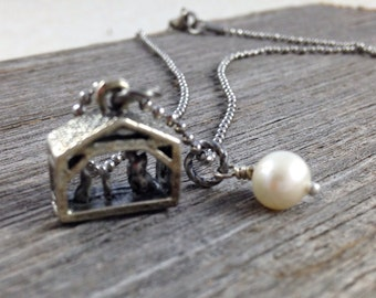 Nativity Necklace with Freshwater Pearl - Creche Manger Christmas Baby Jesus -  Stainless Steel Chain