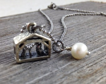 Nativity Christmas Necklace with Freshwater Pearl - Creche Manger Christmas Baby Jesus -  Stainless Steel Chain