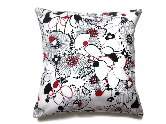 Red Black White Decorative Pillows : Items similar to Decorative Pillow Cover Black Red White Pillow Cover Modern Floral Handmade ...
