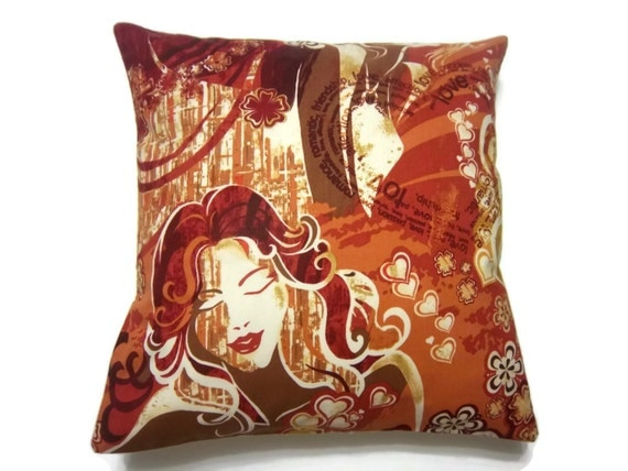 Decorative Pillow Cover Orange Red Rust by LynnesThisandThat