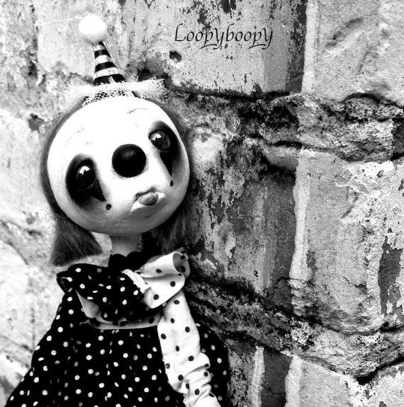 Primitive Halloween Clown Decoration Art Doll Sad Circus Clown Babble