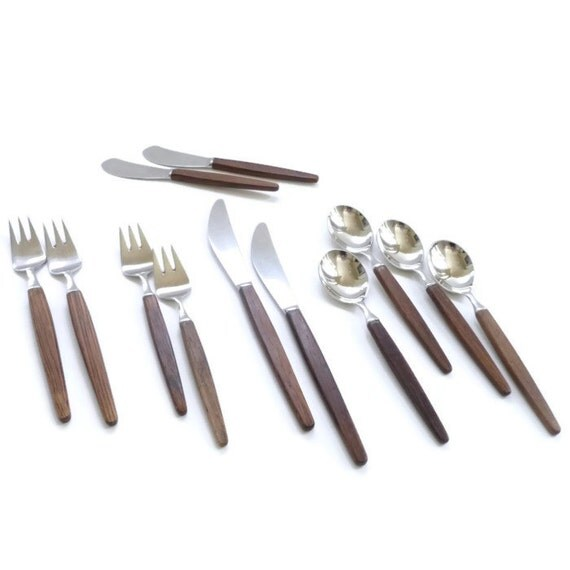 Modernist rosewood flatware set by lundtofte danish modern - Danish modern flatware ...