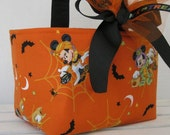 Halloween Trick Treat Candy Basket Bucket - Made with Mickey Mouse and Donald Duck Halloween Fabric - Personalized / Name Tag Available