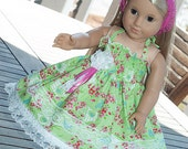 """American girl spring Birthday Easter Tea party dress green pink 18"""" doll 23"""" doll dress and headband - Spring is here!"""