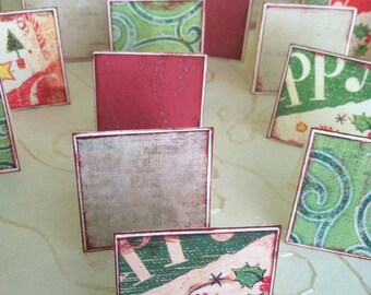 Red and Green Glitter Christmas gift tag/ thank you/ place setting cards- set of 20