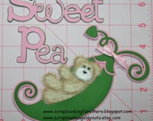 Sweet Pea Baby Girl Tear Bear Premade Embellishment Scrapbook Page SBFO
