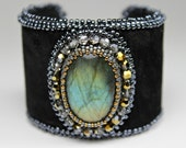 Bead Embroidered Labradorite Black Leather Cuff