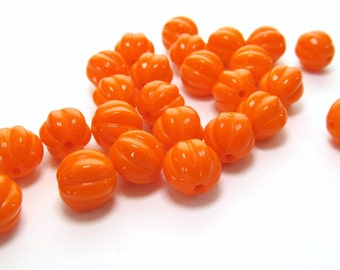 Opaque Orange Ribbed Czech Glass Melon shaped Beads, 8mm - 25 pieces