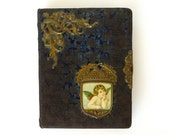 Antique Victorian 1880s 1890s Photo Album Cherub and Acorn Embossed Metal Design With Some Cabinet Cards - marybethhale