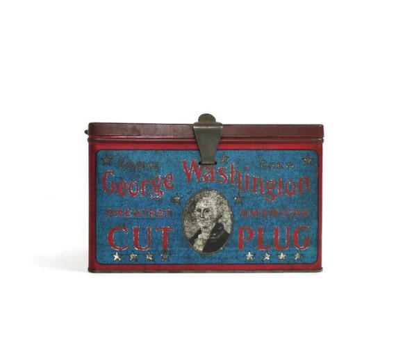 George Washington Cut Plug Tobacco Tin Box Lunch Pail